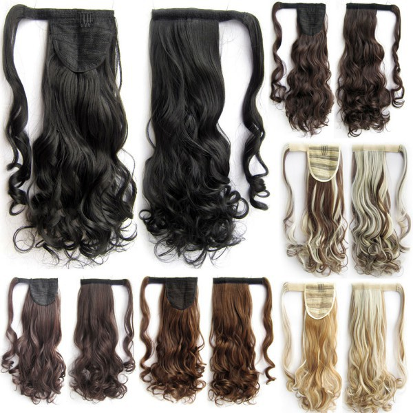 Promation Long Lady Women Curly Vave Claw Clip Ponytail Pony Tail Hair Extension(China (Mainland))