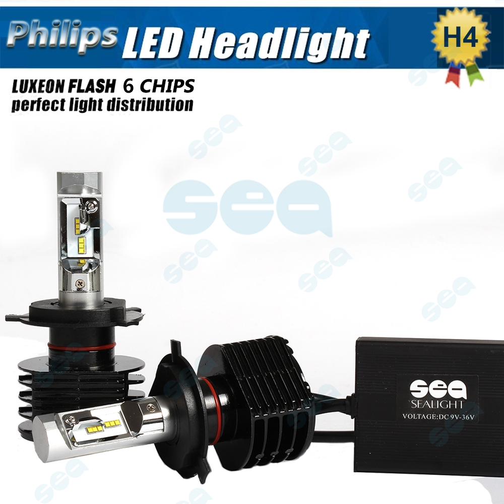 Фотография Pair H4 HB2 9003 90W/Set 1200LM P hilips LED Car Headlight 6000K White Fog Headlight Just Plug & Play Daytime Running Light