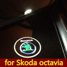 2 x CREE Car LED Laser Logo Light Door Welcome Ghost Shadow Projector Lights for For SKODA octavia 2004-2008(China (Mainland))