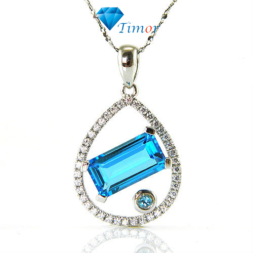 Wholesale Classic Clear Delicate 3.5ct Natural Fine Jewelry Swiss Blue Topaz Necklaces Pendant 925 Silver Free Shipping