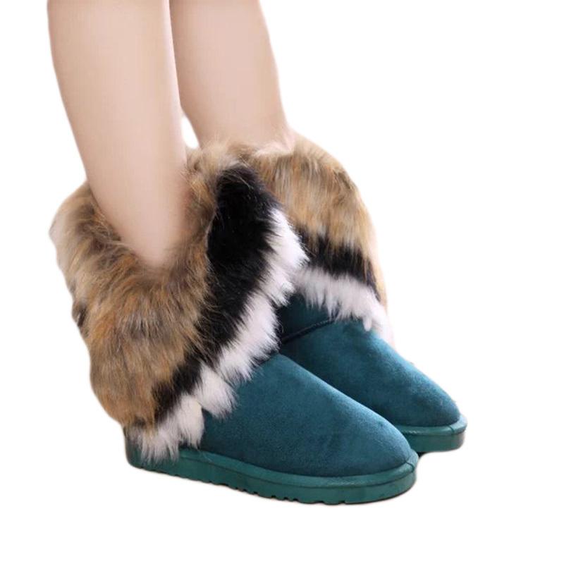 女性の雪のブーツ冬暖かいamapo中旬, ふくらはぎタッセルのどのキツネの毛皮のブートプラットフォームカジュアル豪華なウールの靴高ボタスメス女性のアクセサリー