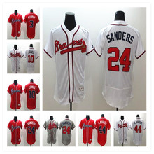 Men's #24 Deion Sanders #44 Hank Aaron #10 Chipper Jones Baseball Jerseys Home Road Alternate Flexbase Sewn Jersey(China (Mainland))