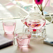 Glass teaset coffee set,600ml teapot+1 round warmer base+2pc 200ml  tea cup,flower loose tea sets