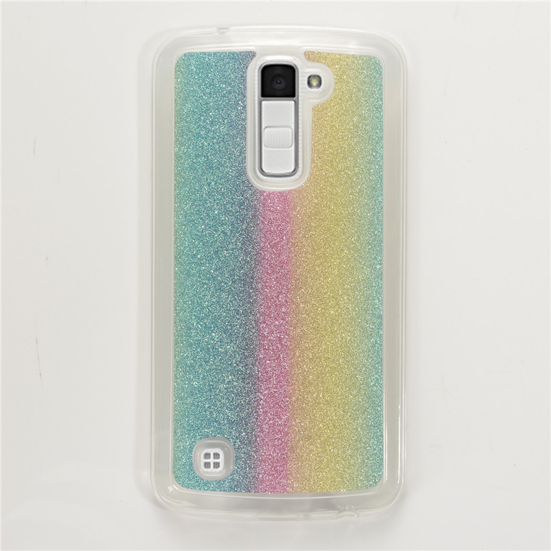 Fashion Bling Glitter Gradient rainbow Cases carcasa For LG K10 Cover Soft TPU Frosted Matte shimmering powder Phone Cases(China (Mainland))