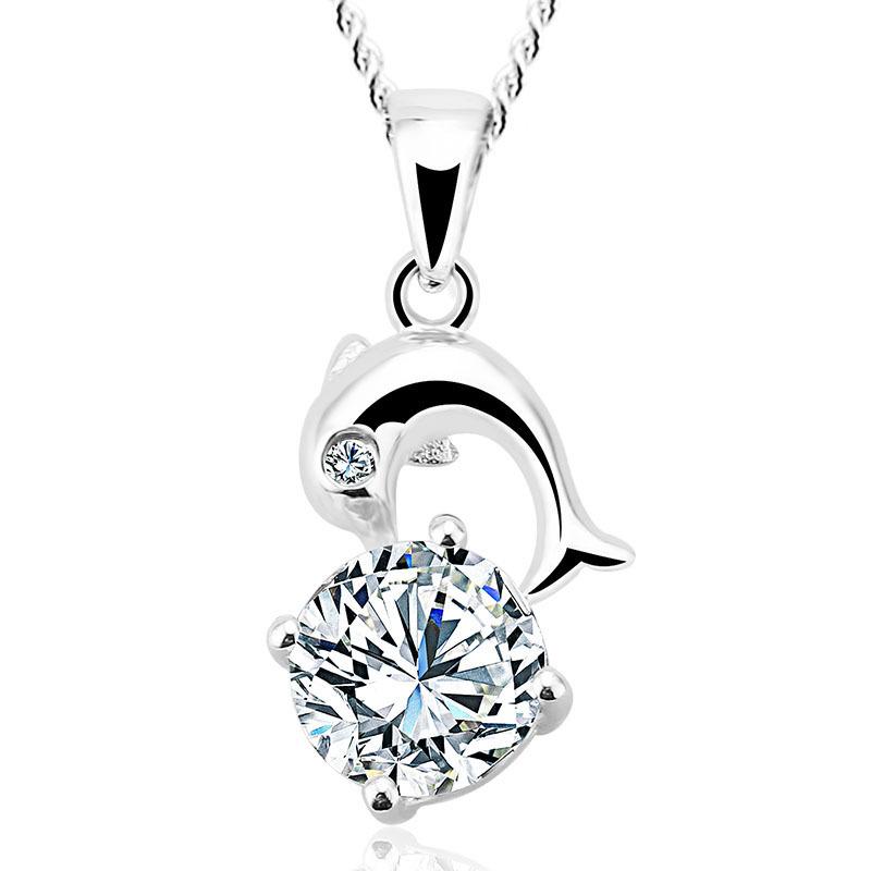 ICO 925 Sterling Silver Pendant Mini Dolphin Pendant pendant crystal Austria women's Y30138(China (Mainland))