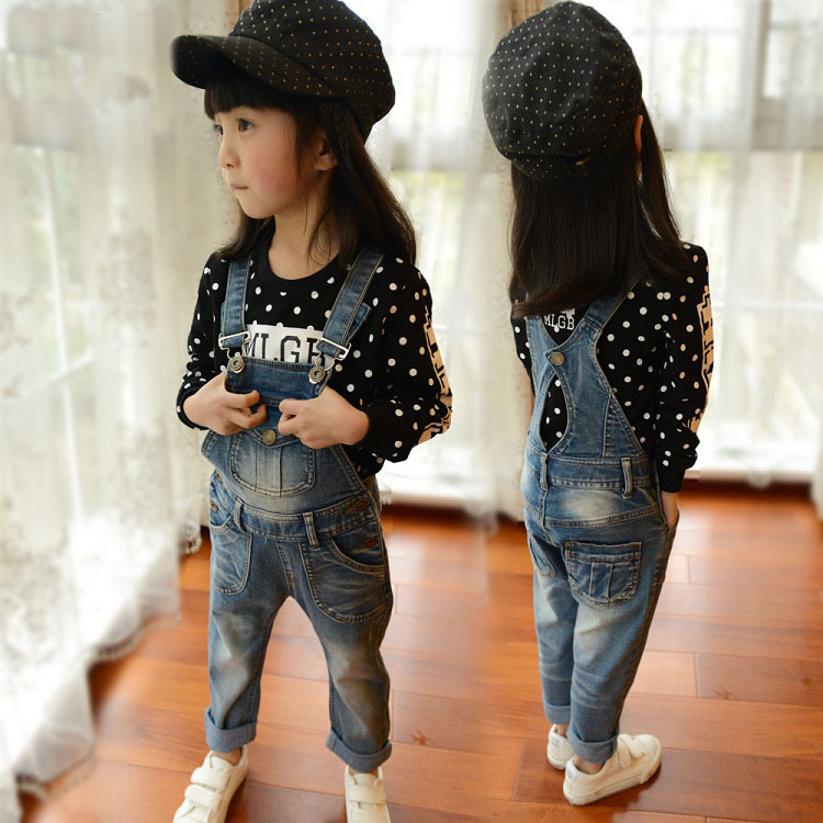 2015 New Arrival Girls Denim Overalls Brand High Quality Girls Overall Jeans Spring Autumn Kids Jumpsuit