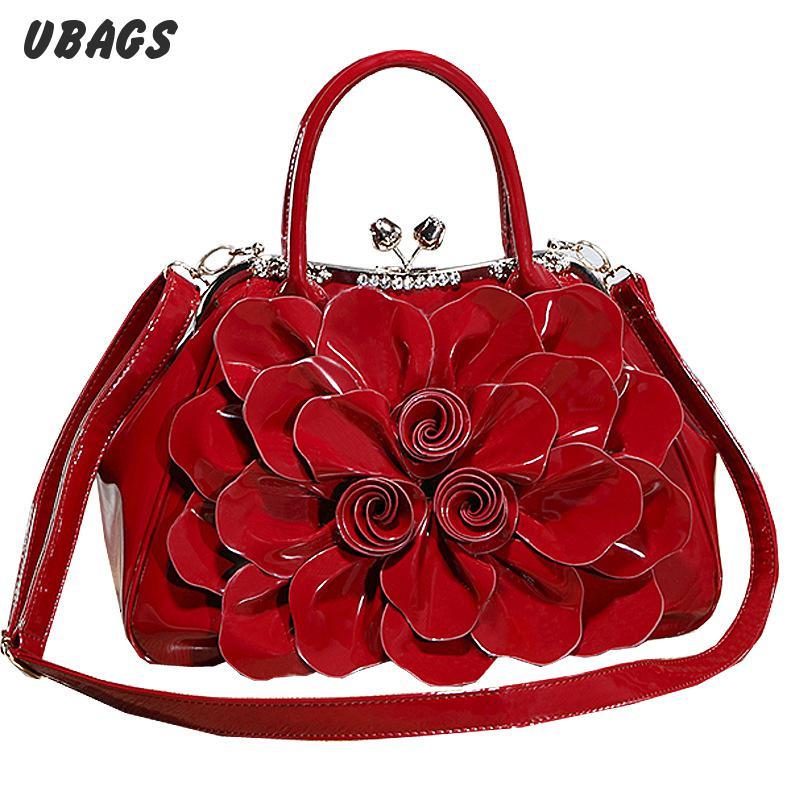 Alice Flower Brand Handbag Fashion Rhinestone Enamelled Stereotypes Bags Ol Flower Bride Handbag Bag Commuter<br><br>Aliexpress