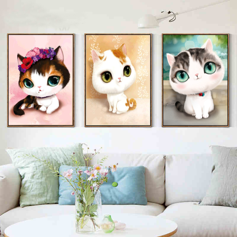 5D DIY diamond mosaic embroidery bedroom cartoon animals cute cat point paste painting cross stitch - Home Art Full Drill Diamond Painting store