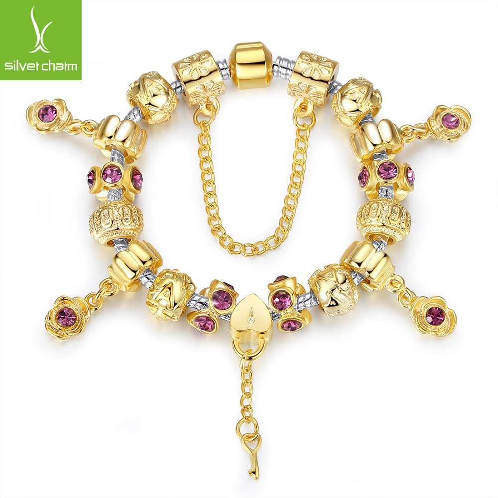 Bamoer New Gold Plated DIY Bead Bracelet With High Quality Flower and Key Charms for Friendship Gift XCH1427(China (Mainland))