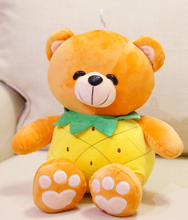 Gift for baby 1pc 30cm cartoon creative little pineapple teddy bear plush hold doll cute novelty children kids stuffed toy(China (Mainland))
