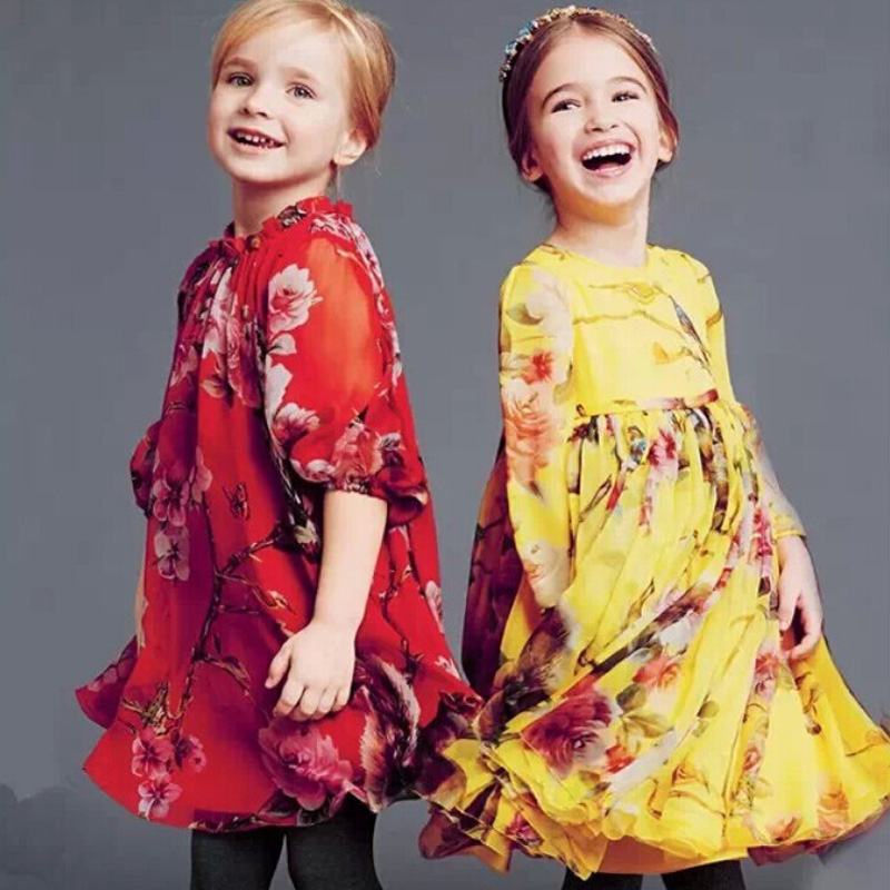 Free Shipping Kids Clothes Girl Dress Spring Party Dresses Printed Summer Dress Baby Girl Three Quarter <br><br>Aliexpress