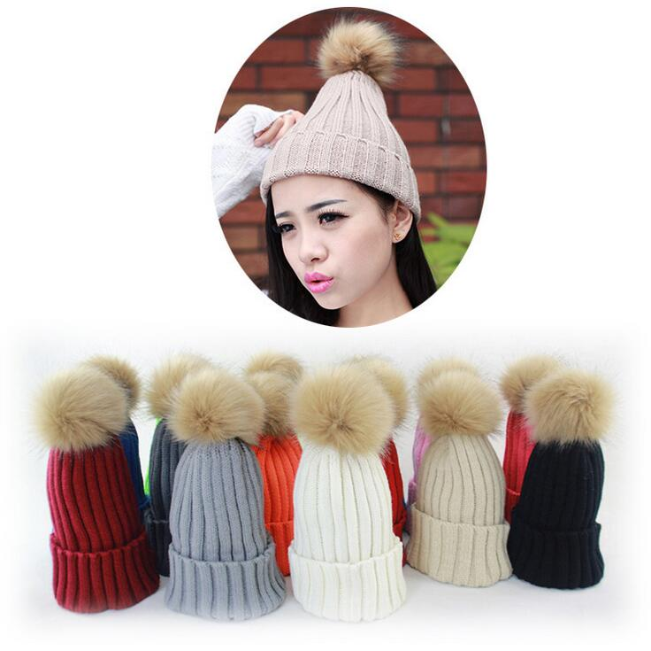 2015 Winter Hats for women Candy Beanie Knitted Caps Crochet Hat Rabbit Fur Pompons Ear Protect Casual Cap Chapeu Feminino IF205(China (Mainland))