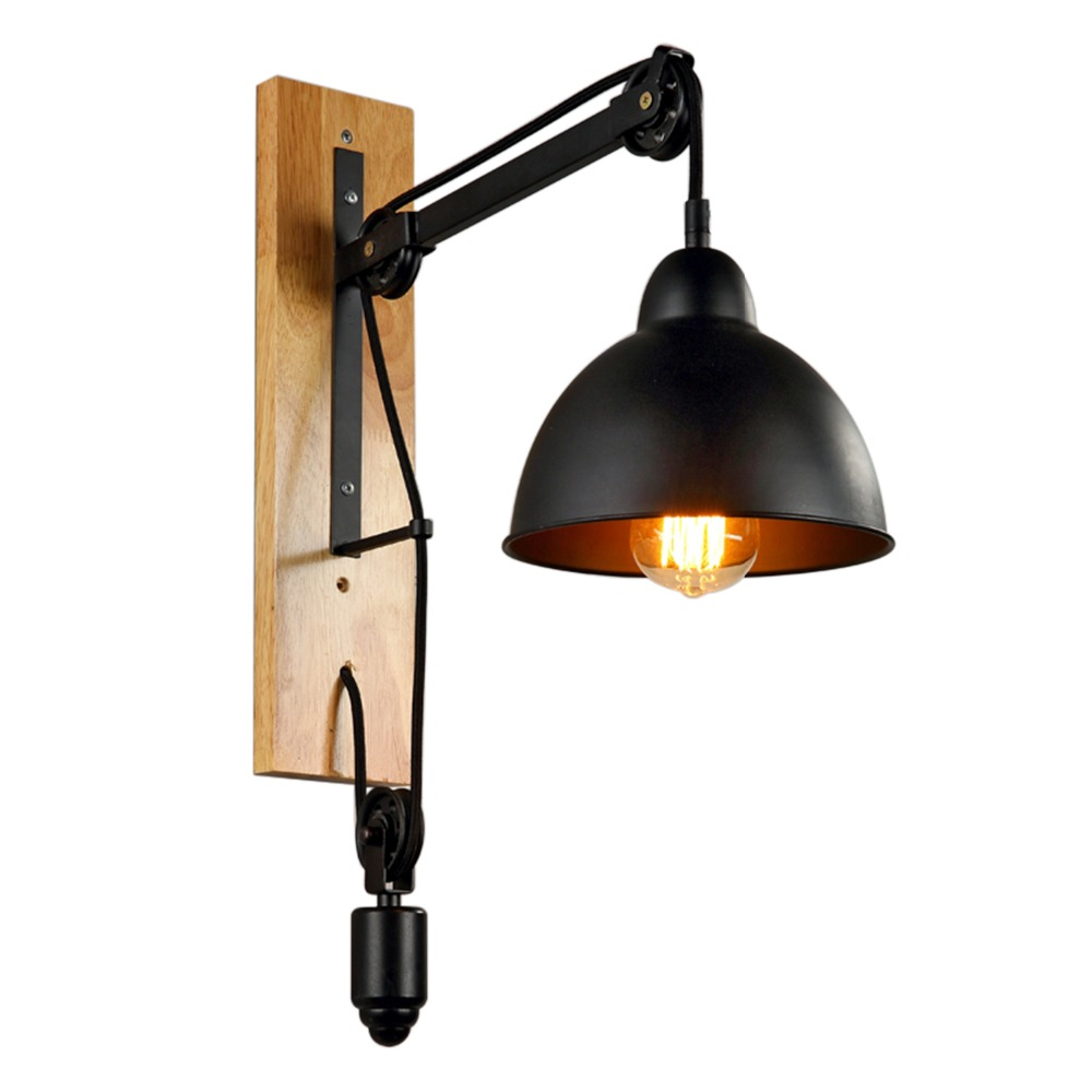 1pc Pulley Iron Wall Lamp Creative Wall Sconce without Bulbs E27 Lifting Apparatus Design for Bookstore Bar Cafe Home Decor(China (Mainland))