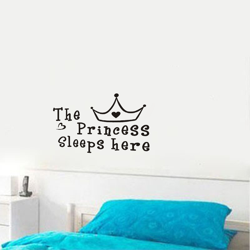 JJRUI The Princess sleeps here - Wall Say Quote Word Lettering Art Vinyl Sticke Decor Girls Wall Stickers for Kid Rooms 21COLOUR(China (Mainland))
