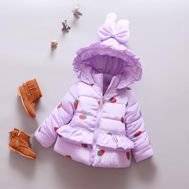 Новое Прибытие Ребенок Зимняя Одежда младенческой малыш Девушка Пальто мультфильм с капюшоном фиолетовый Куртки новорожденных пиджаки для 0-24 месяцев