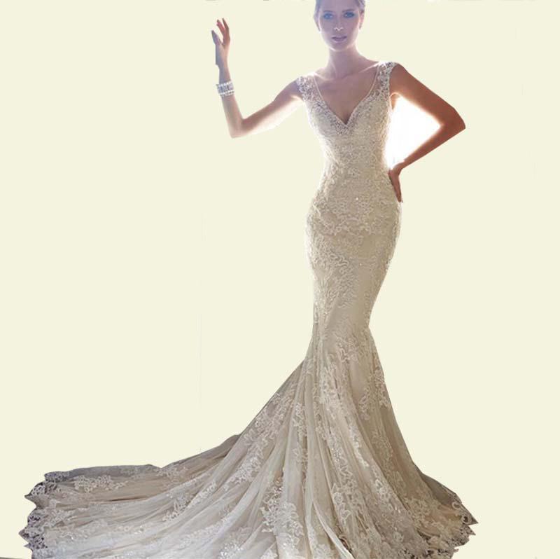 real photo train sexy mermaid wedding dresses gowns robe de mariage lace wedding dress 2015 hot sale sweetangel vestido de noiva(China (Mainland))