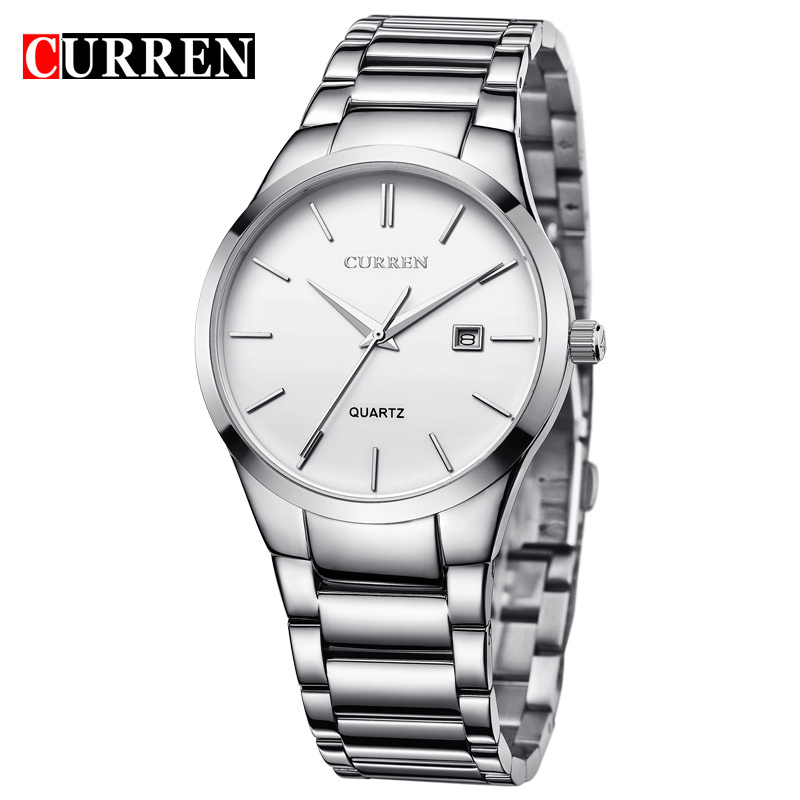CURREN Mens Watches Top Brand Luxury Full Stainless Steel Analog Display Date Men's Fashion Casual Quartz Watch Men Wristwatches - Original Authorized Shop store