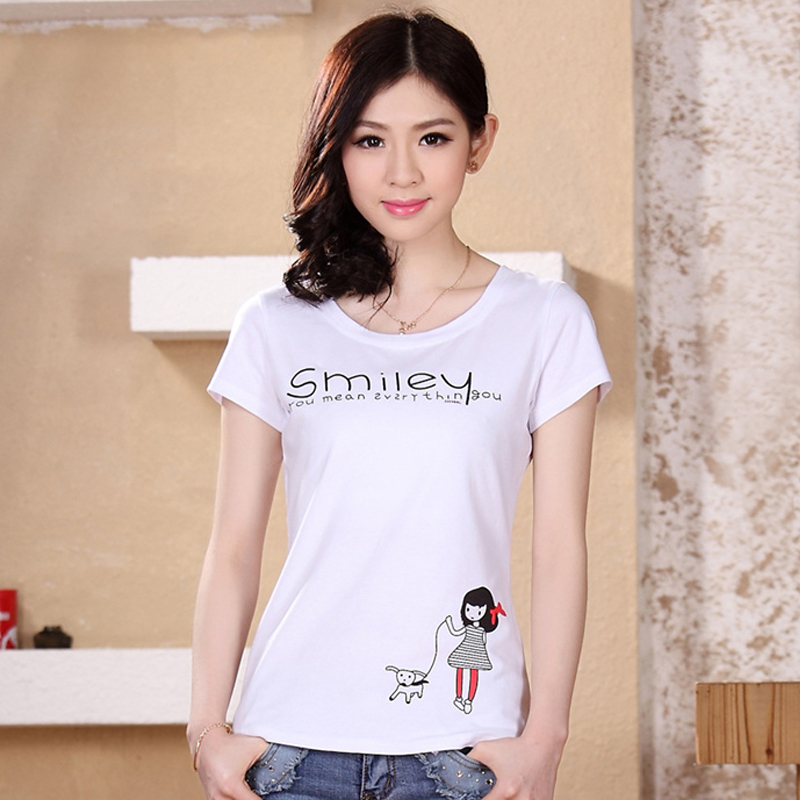 The new 2016 ms summer short-sleeved t-shirts han edition code women's cotton coat of cultivate one's morality(China (Mainland))