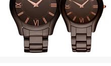 Hombres AR1444 mujeres AR1445 de cerámica delgado Brown parejas Dial reloj
