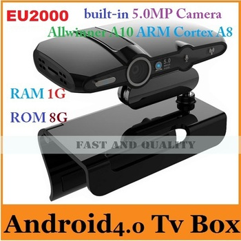 Newest EU2000/HD2 5.0MP camera and Mic android tv box Allwinner A10 ARM Cortex A8 HDMI 1080P RAM 1GB ROM 8GB support skype