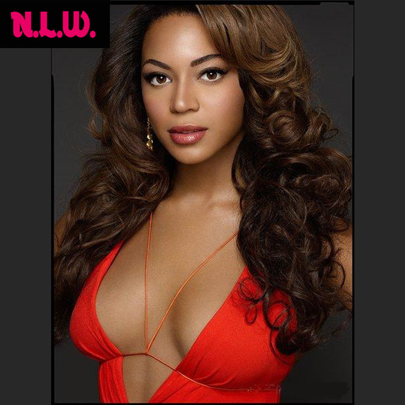 Celebrity Brazilian virgin human hair natural bouncy curly front lace wig 100% wave full women