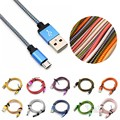 1m 2m 3m Long Aluminum Braided Micro USB Sync Charger Cable Charging Cord For Samsung Galaxy