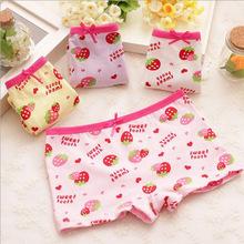 2015 Cute strawberry print cotton underpants bow child children pants baby girls underwear wholesale GU026