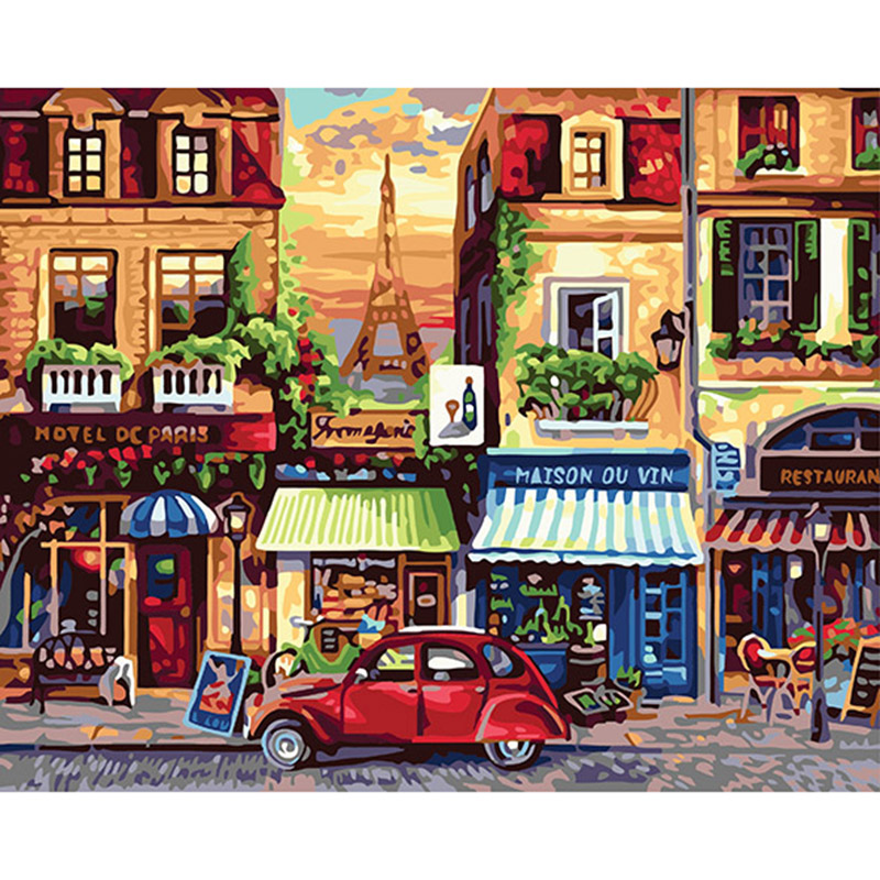 hand painted canvas oil paintings on canvas by numbers decoracion hogar in bedroom The Champs Elysees packing with roll YAX139(China (Mainland))