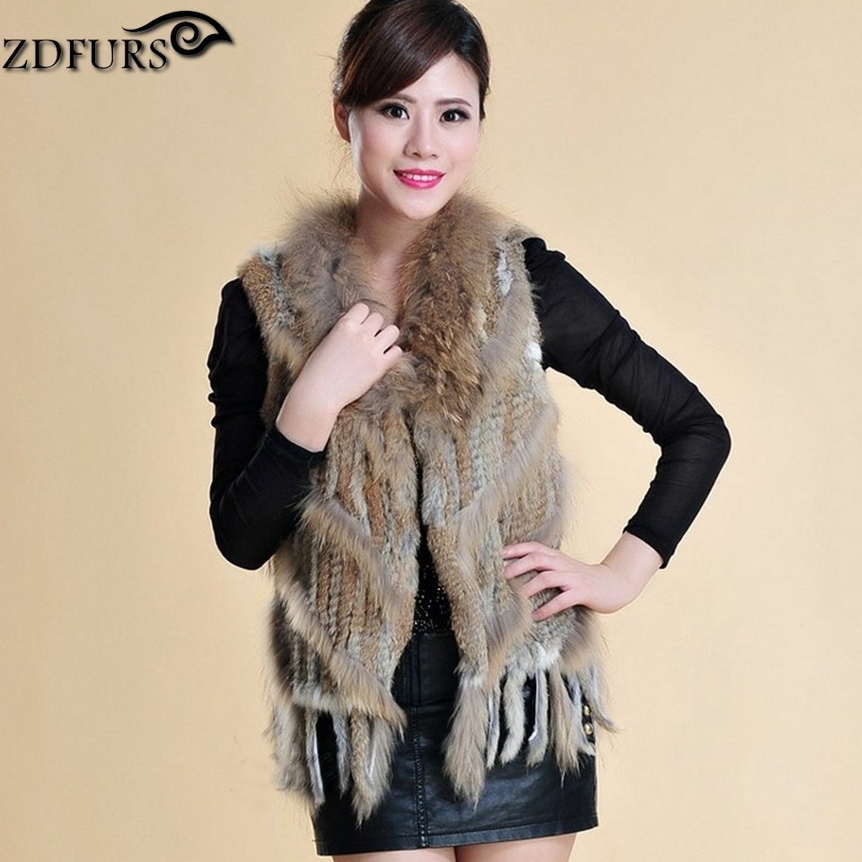 2016 Genuine Knitted Rabbit Fur Vest with Raccoon Fur Trim Real Fur Gilet Waistcoat with Tassels 2 Colors(China (Mainland))
