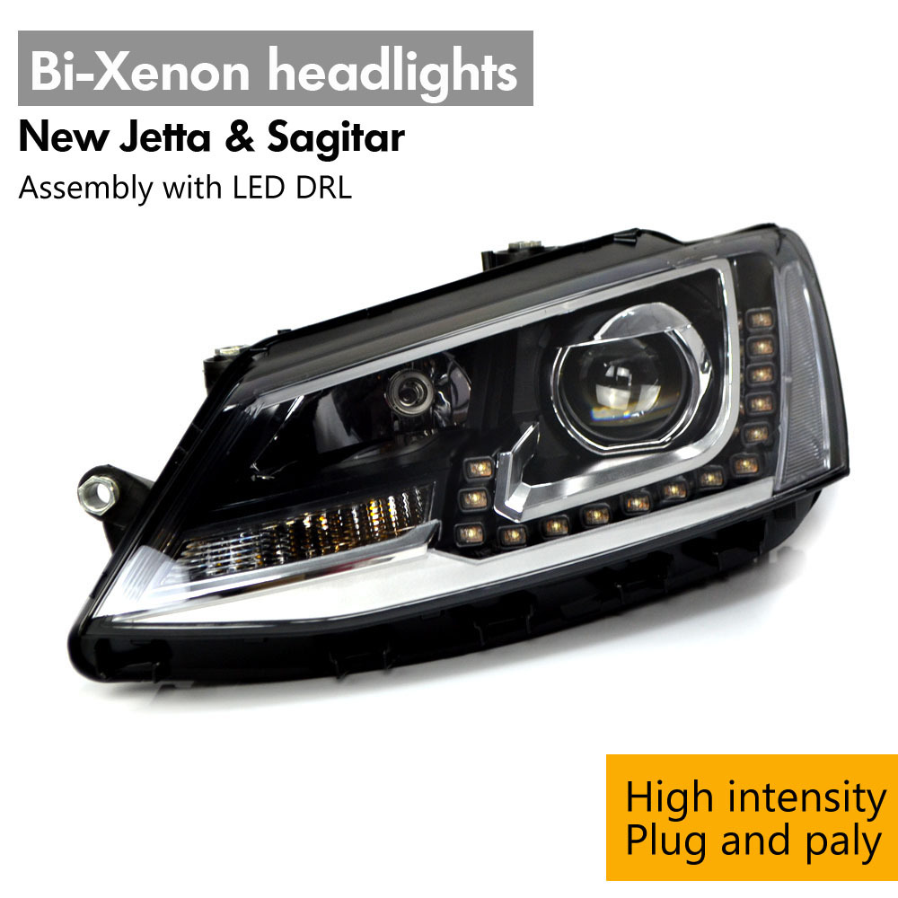 For New Jetta & GLI European Bi-Xenon High Intensity Headlights Headlamp Assembly LED DRL HID Gas Discharge Lamps Headlight(China (Mainland))