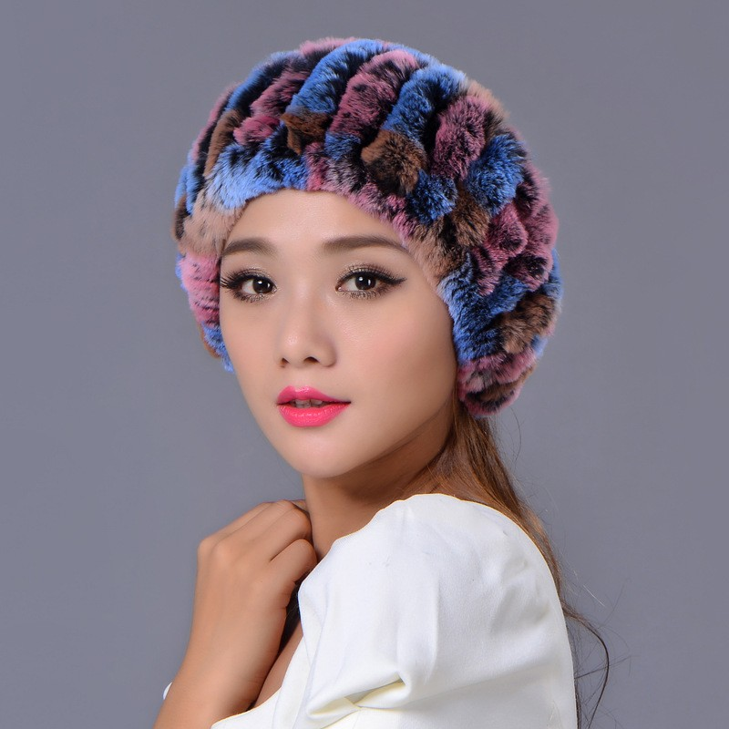2016 Winter Beanies Fur Hat for Women Knitted Rex Rabbit Fur Striped Fashion Free Size Casual Russian Women's Hat