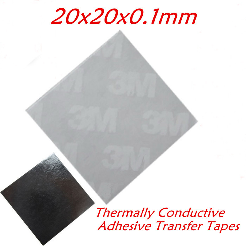 200pcs/lot 3M High Performance 20x20mm Thermally Conductive Adhesive Transfer Tapes for heatsink radiator COOLER(China (Mainland))
