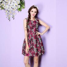 Beautiful Print Women Dresses 2016 New Summer Dress Sleeveless O-neck Casual Women Dresses High Waist Red Maxi Dresses