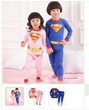 Superman in autumn of children long sleeve T-shirt + pants casual leisurewear set suit free shipping(China (Mainland))