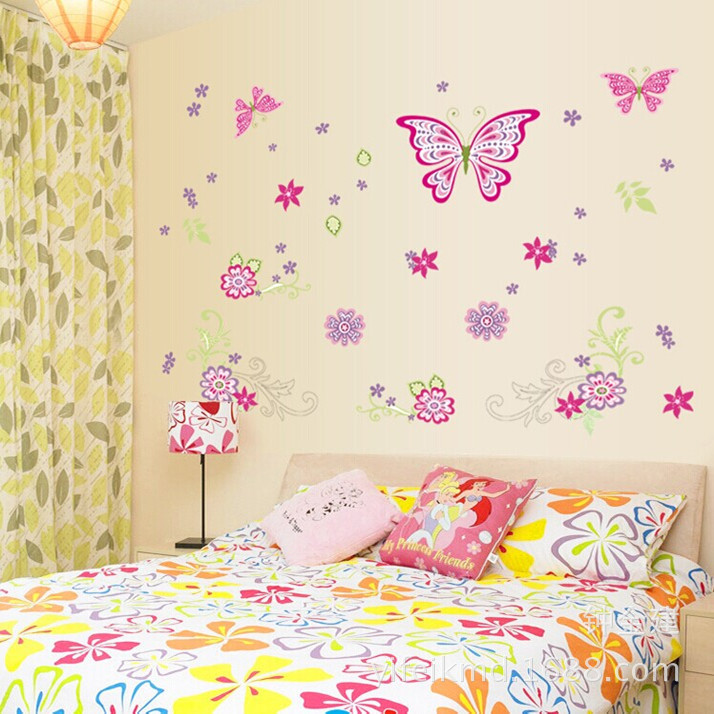 Popular creative butterfly stickers The sitting room the bedroom adornment chest wall stickers stickers glass mirror(China (Mainland))