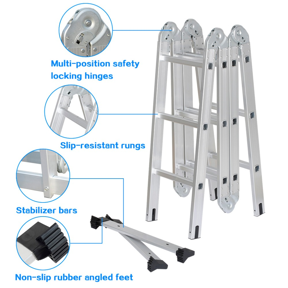 Heavy Duty Multi-Purpose Extendable Aluminum Folding Ladder with Safety Locking Hinges and 2 Panels with 4 Folds 12 Rungs(China (Mainland))