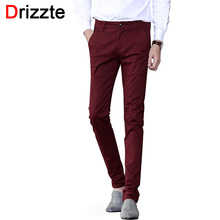 Drizzte Mens Soft Slim Stretch Cotton Dress Chino Pants Jean Khaki Black Beige Red Grey Trousers 32 33 34 36(China (Mainland))