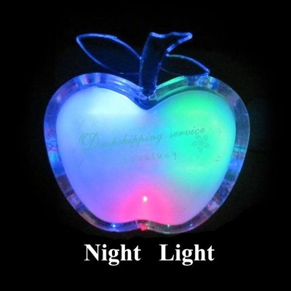Apple Shaped Colorful LED Night Light Energy-saving Wall Lamps Home Decoration Drop shipping/Free Shipping(China (Mainland))