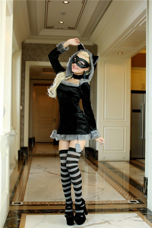 Sexy Adult Skunk Faux Fur Animal Halloween womens Animal Cosplay Costume(China (Mainland))
