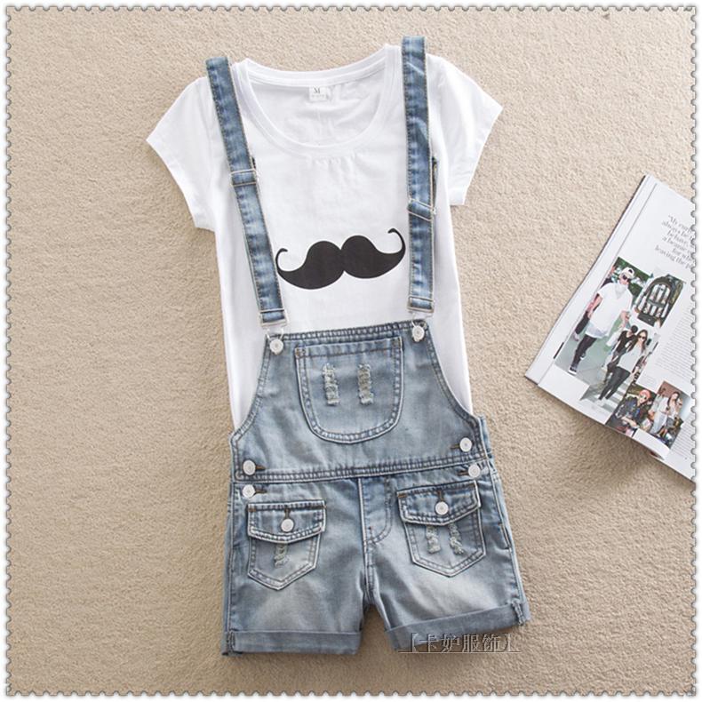 Jardineira jeans feminina solto quente shortswomen rasgado for Jardineira jeans feminina c a