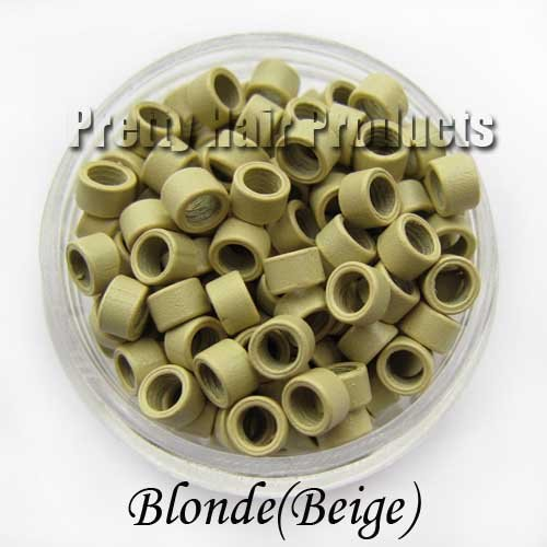 5 jars(5000pcs) Micro Link Beads Rings for Feather Hair/I-tip Hair Extensions,Free shipping,1000pcs/jar,blonde(beige)(China (Mainland))