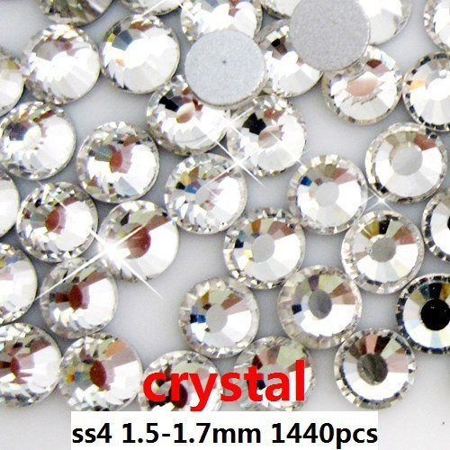 Rhinestones For Nails 1440pcs ss4  1.5-1.7mm Crystal Color Flat Back Non Hotfix Glue On Rhinestones Round Shape High Quality