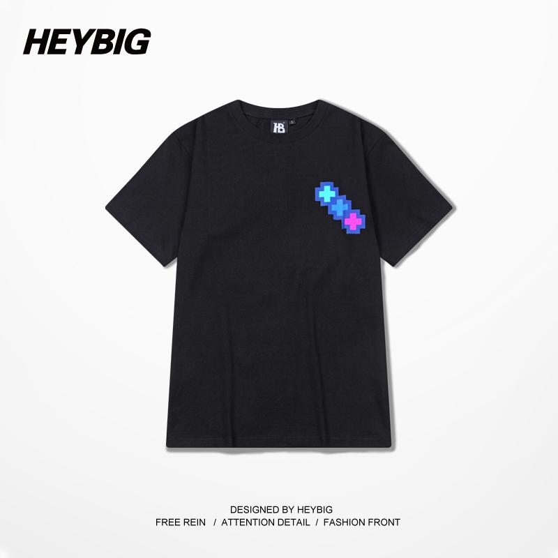 Heybig Fashion Brand Dolphin T Shirt Men Black Cotton Lovers' Tee American Casual Street Men T-Shirts West Coast Hip Hop Tees(China (Mainland))