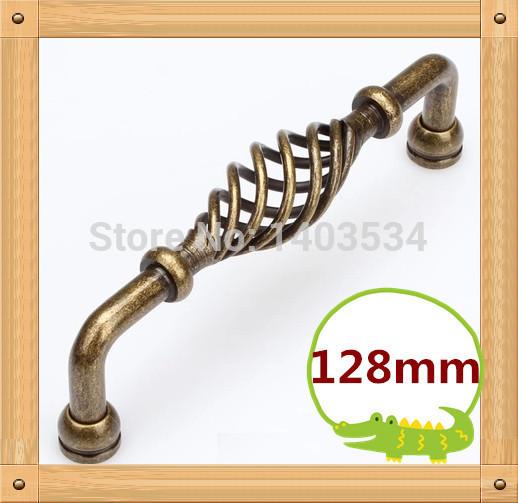 2pcs 128mm Zinc Alloy Kitchen Furniture pulls antique bedroom drawer handle birdcage handle<br><br>Aliexpress