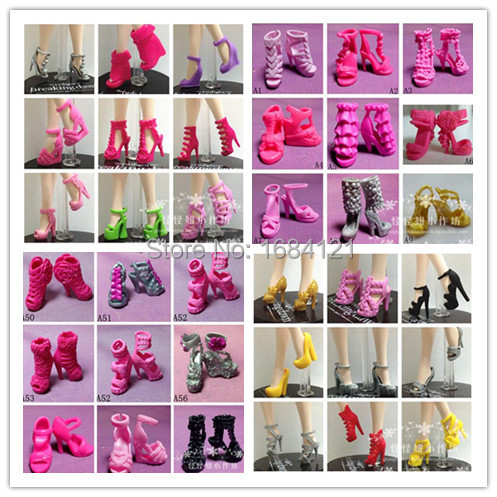 Free Shipping, 20Pairs/Lot Mix Style Mix Color Shoes for barbie doll, Doll Accessories For Barbie Doll, high heels for barbie(China (Mainland))