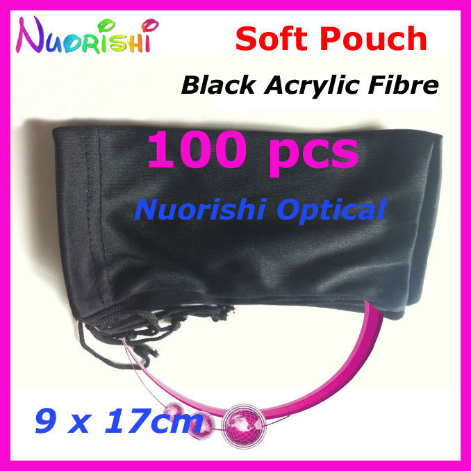 100pcs Wholesale Black Acrylic Fibres Spectacle Sunglass Eyewear Eyeglasses Glasses Soft Cloth Bag Pouch Case CP040 Free Shippi(China (Mainland))