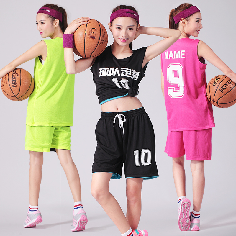 Women's Basketball Clothes Double Sided Basketball Uniforms Training Suit Reversible Jersey Custom Logo Number Team Name(China (Mainland))