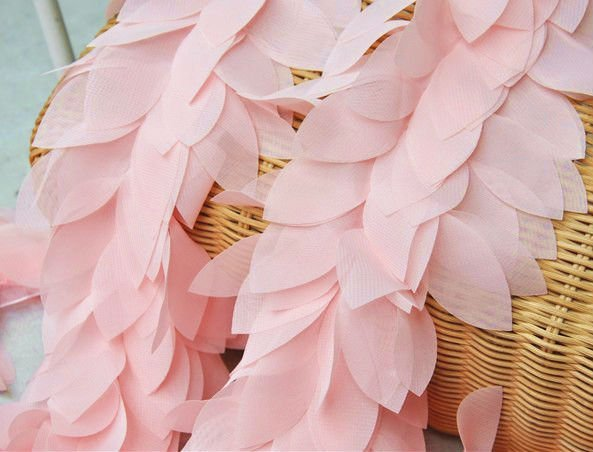 Wholesale Retail Top Rated Leaves Leaf 3D Fabric Craft Sewing Mesh Trim Pink Free Shipping(China (Mainland))