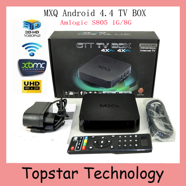 product 2015 New MXQ TV BOX MX Amlogic S805 Quad Core IPTV Android 4.4 TV box Kitkat 4K 1GB/8GB XBMC fully Loaded WIFI Airplay Miracast