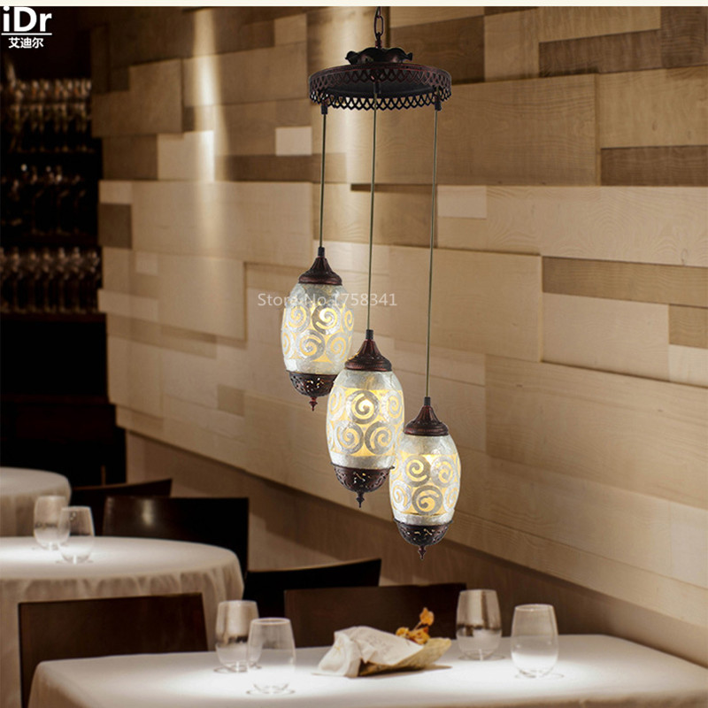 High-end European-style cozy three shells creative personality restaurant Cafe Antique lamp Pendant Lights W360xH930mm(China (Mainland))